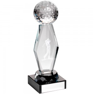 Clear/Black Glass Golf Trophy